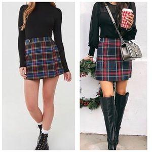 Forever 21 Black Multi Plaid Wrap Mini Skirt